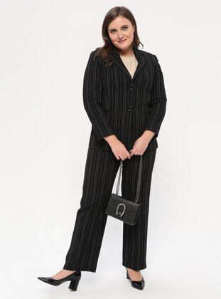 Black - Stripe - Shawl Collar - Fully Lined - Plus Size Suit