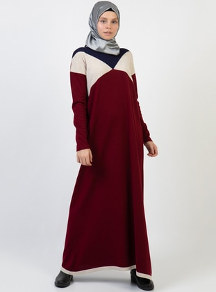 Maroon - Unlined - Acrylic - Dress