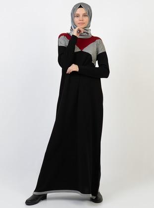 Black - Unlined - Acrylic - Dress