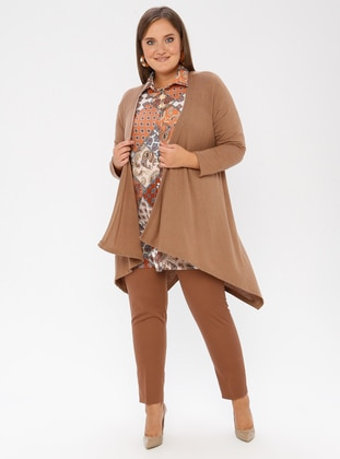 Camel - Crew neck - Plus Size Cardigan