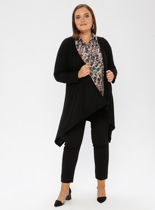 Black - Crew neck - Plus Size Cardigan