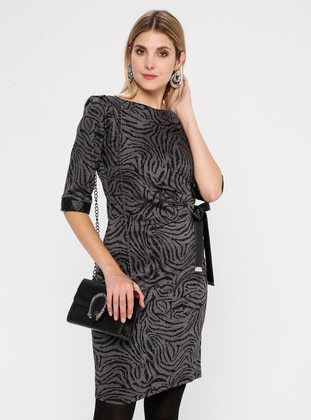 Anthracite - Multi - Crew neck - Unlined - Nylon - Dress