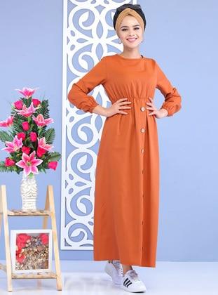 Orange - Crew neck - Unlined -  - Dress