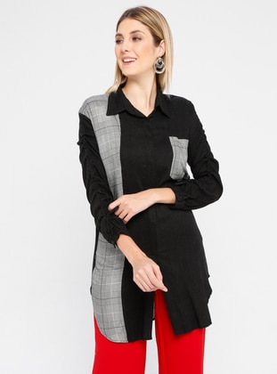 Black - Plaid - Point Collar - Viscose - Blouses