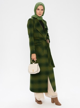 Khaki - Plaid - Fully Lined - Shawl Collar - Viscose - Coat