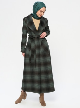 Petrol - Plaid - Fully Lined - Shawl Collar - Viscose - Coat