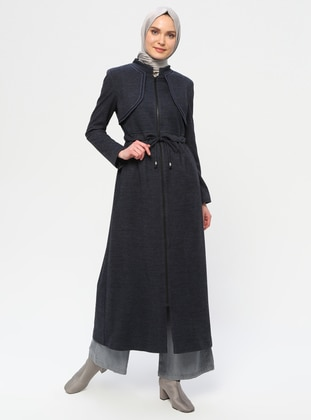 Navy Blue - Fully Lined - Crew neck - Wool Blend - Coat - Nihan