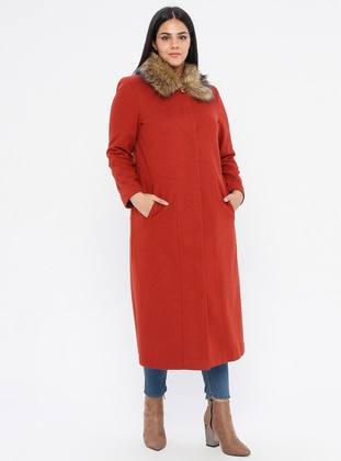 Terra Cotta - Fully Lined - Point Collar - Plus Size Coat - Nihan