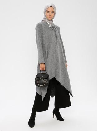 Gray - Unlined - Crew neck - Metal Thread -  - Topcoat