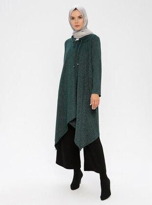 Khaki - Unlined - Crew neck - Metal Thread -  - Topcoat