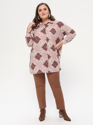 Brown - Viscose - Plus Size Pants