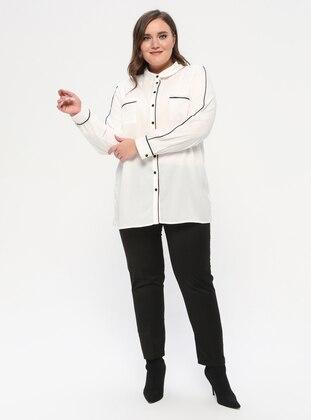 Black - Viscose - Plus Size Pants