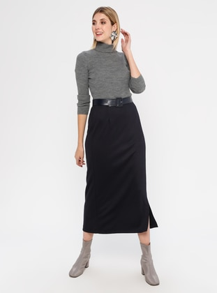Navy Blue - Unlined - Rayon - Skirt