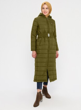 Khaki - Fully Lined - Coat - Miss Cazibe