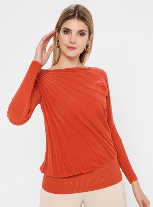 Orange - Boat neck - Nylon -  - Viscose - Jumper