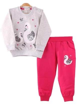 Crew neck - - Unlined - Gray - Pink - Girls` Suit
