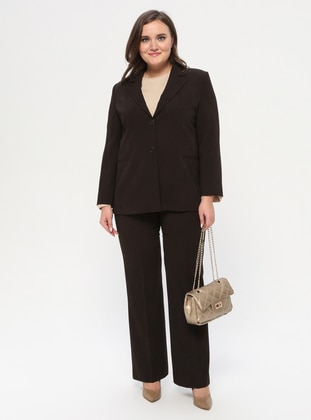 Brown - Shawl Collar - Fully Lined - Plus Size Suit