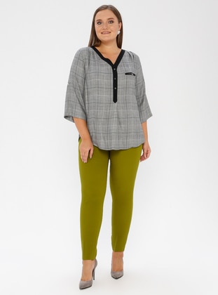 Green - Nylon - Plus Size Pants