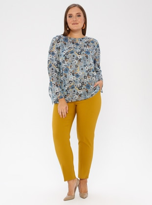 Mustard - Nylon - Plus Size Pants