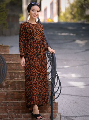 Terra Cotta - Leopard - Crew neck - Unlined - Dress
