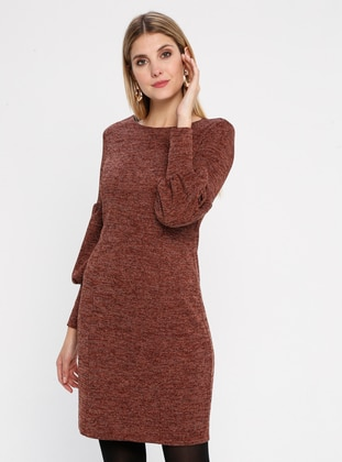 Tan - Crew neck - Fully Lined -  Metal Thread - Dress