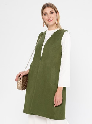 Khaki - Fully Lined - Shawl Collar - Vest
