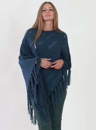 Petrol - Unlined - Viscose - Poncho