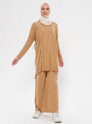Beige - Unlined - Acrylic -  - Suit