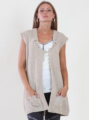Beige - Unlined - V neck Collar - Viscose - Vest