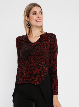 Maroon - Multi - V neck Collar - Rayon - Blouses