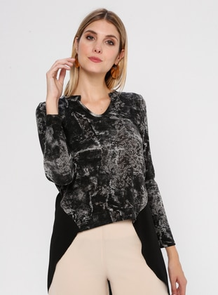Black - Multi - V neck Collar - Rayon - Blouses