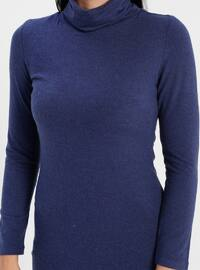 Navy Blue - Polo neck - Fully Lined - Linen - Rayon - Dress