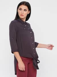 Anthracite - Point Collar - Viscose - Blouses