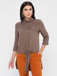 Mink - Point Collar - Viscose - Blouses