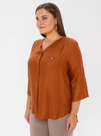 Tan - V neck Collar - Viscose - Plus Size Blouse