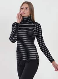 Black - Stripe - Crew neck - Viscose - Blouses