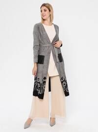 Gray - Multi - Shawl Collar - Rayon - Cardigan