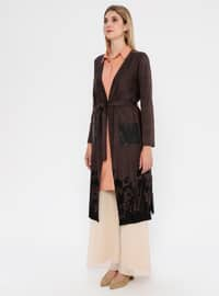 Brown - Multi - Shawl Collar - Rayon - Cardigan