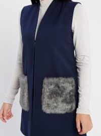 Navy Blue - Fully Lined - Shawl Collar - Viscose - Vest