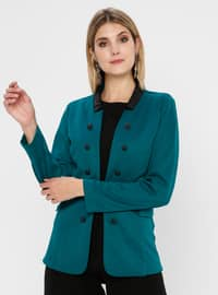 Green - Unlined - Crew neck - Rayon - Jacket