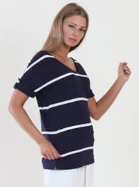 Navy Blue - Stripe - V neck Collar - Viscose - Blouses