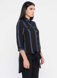 Saxe - Black - Stripe - Point Collar - Viscose - Blouses
