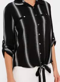 Gray - Black - Stripe - Point Collar - Viscose - Blouses