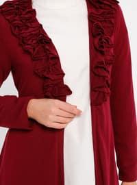 Maroon - Shawl Collar - Viscose - Cardigan