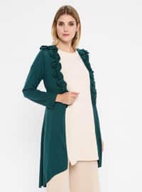 Green - Shawl Collar - Viscose - Cardigan
