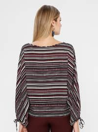 Maroon - Stripe - Multi - Boat neck - Blouses