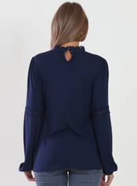 Navy Blue - Polo neck - Viscose - Blouses