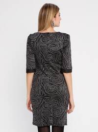 Anthracite - Multi - Crew neck - Unlined - Nylon - Dress