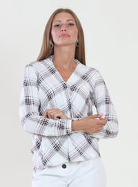 White - Ecru - Black - Plaid - V neck Collar - Viscose - Blouses