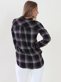 Black - Plaid - V neck Collar - Viscose - Blouses